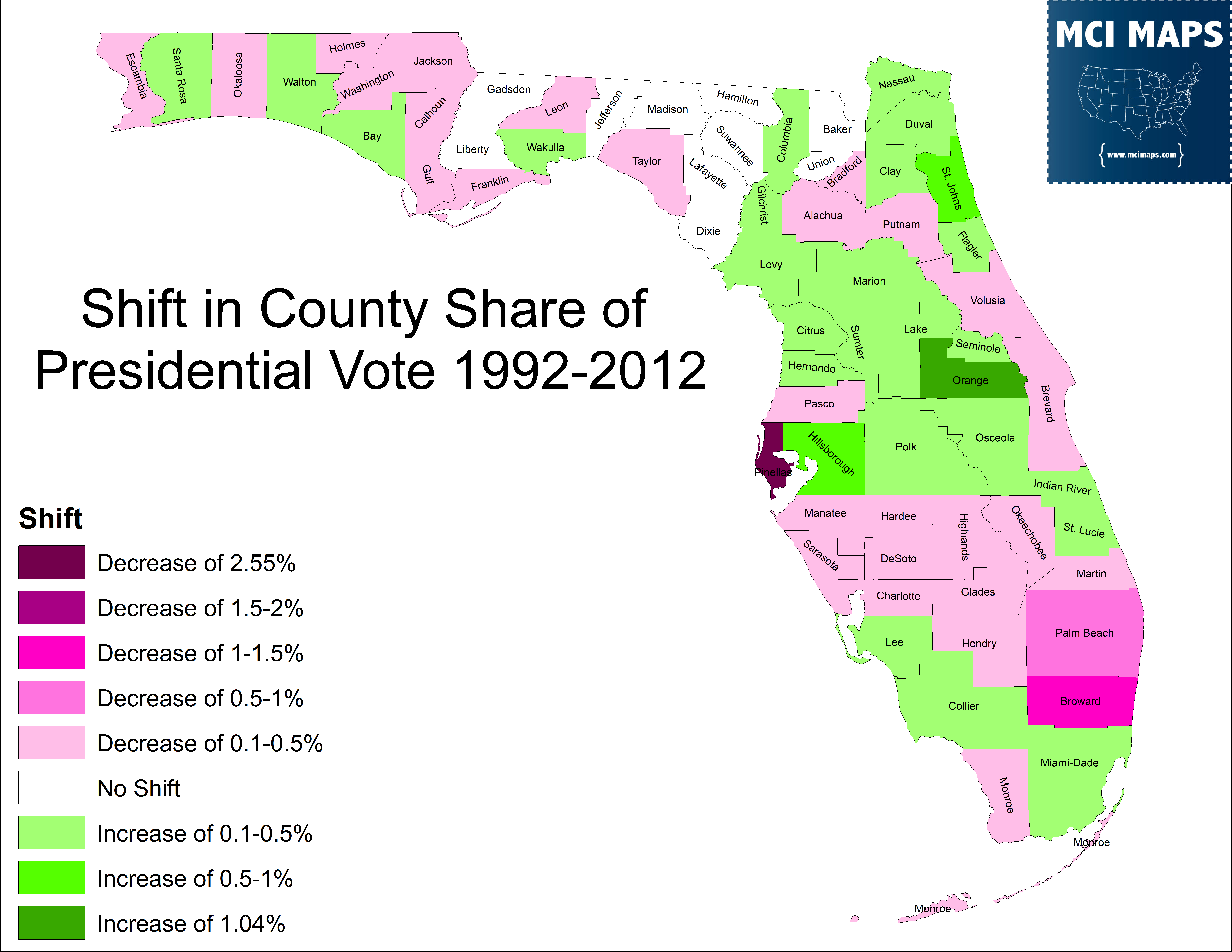 The Disappearing Swing Counties Of Florida  MCI Maps - Florida county map with population