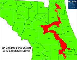 The district was narrowed to take in less non-African America territory. The legislature argued that the Fair Districts amendments passed in 2010 did not mean this district had to change, as it was a protected minority seat. Talk of an East-West district came up in 2012 but never got series consideration. The Supreme Court ruled maintain the North-South configuration over east-west was designed to protect GOP districts in the Central Florida region.