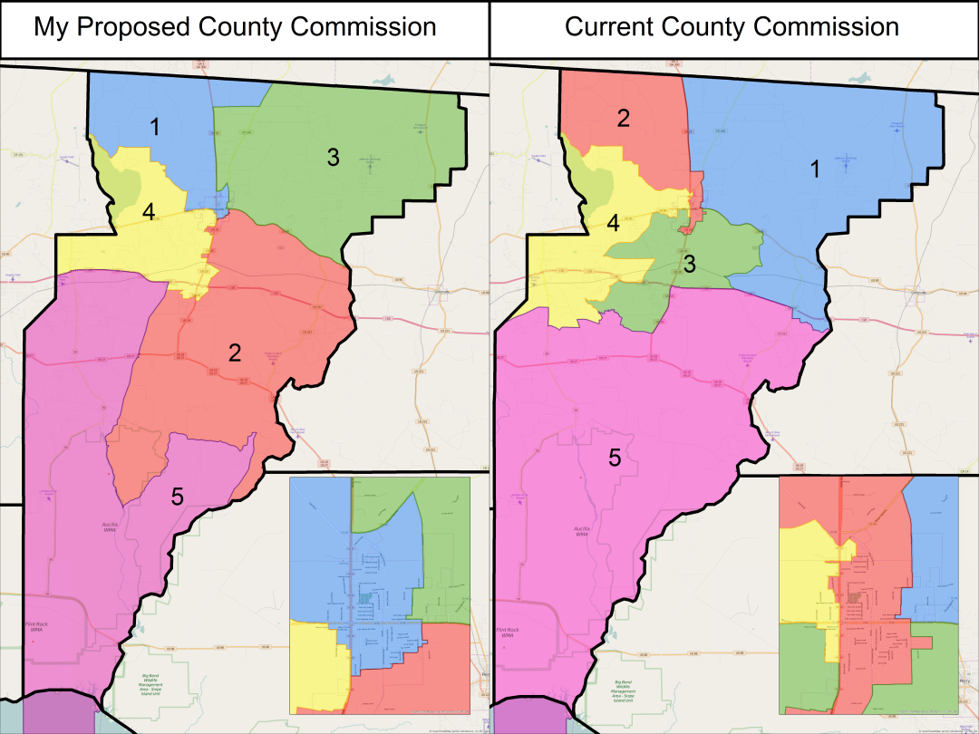 Map Of Florida School Districts.Jefferson County Commission And School Board Districts