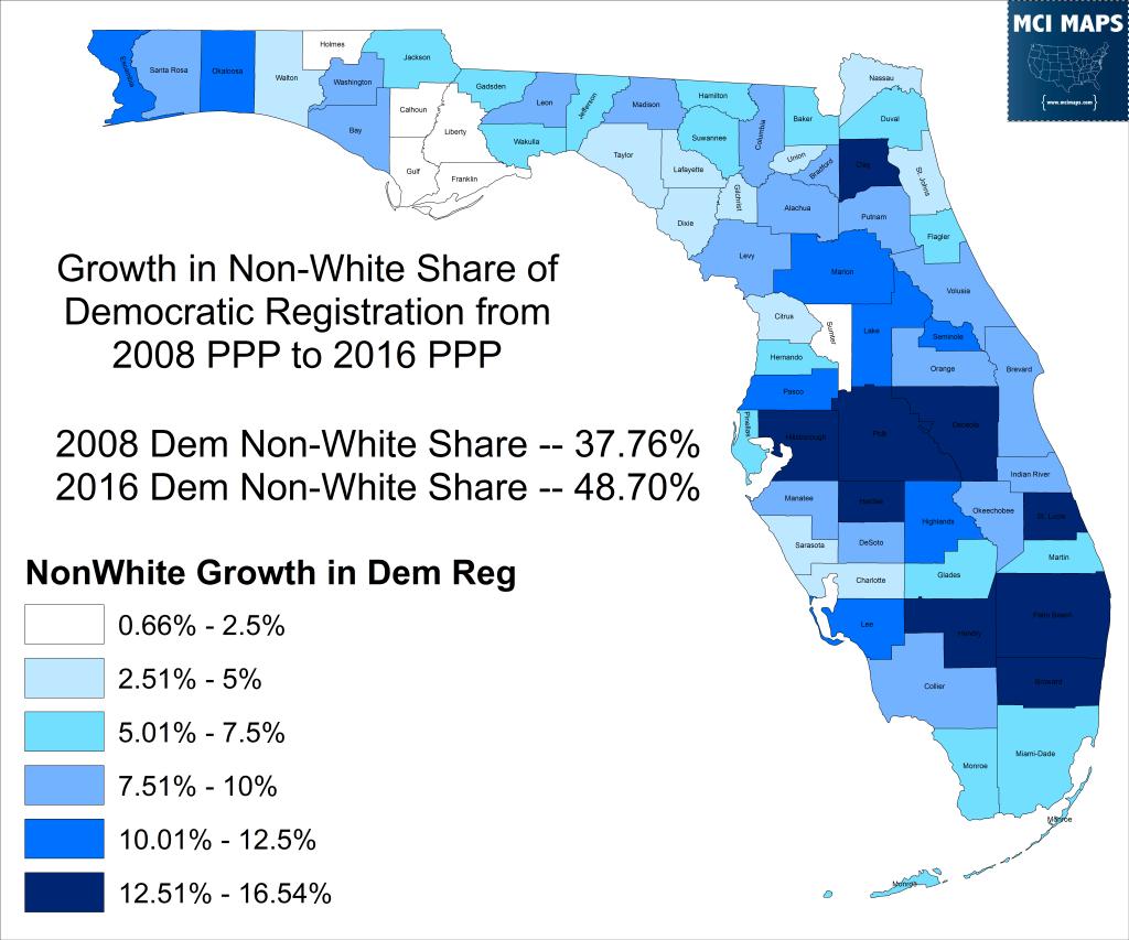 2008 to 2016 NonWhite Dem Growth