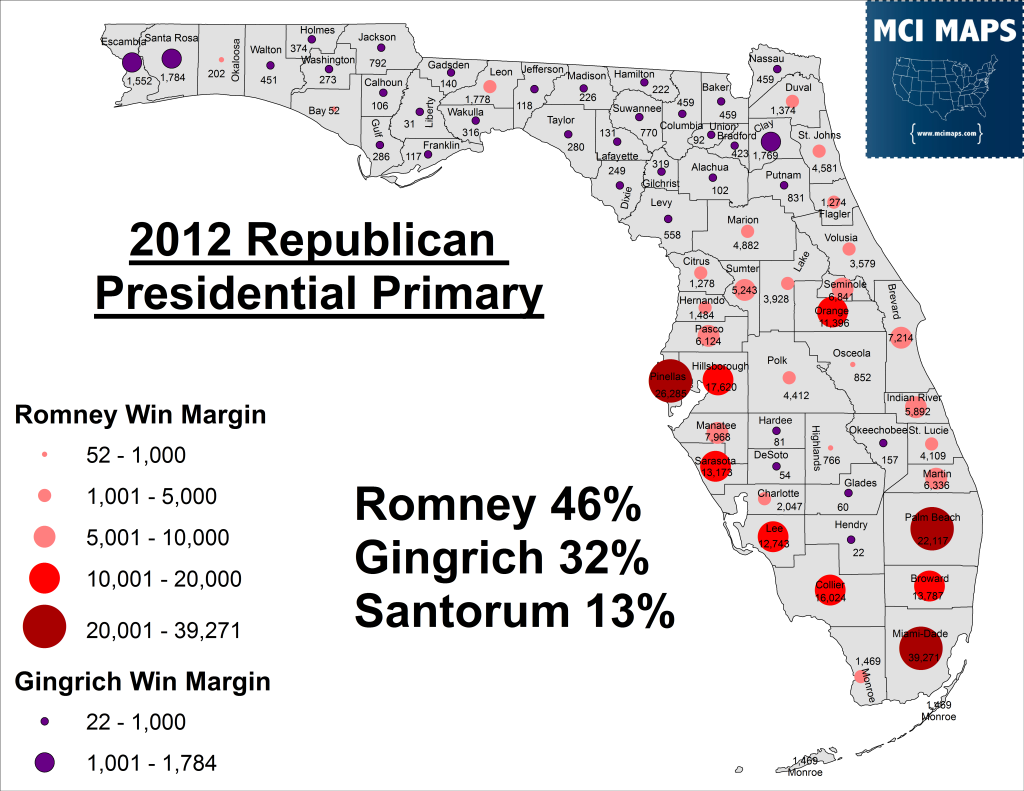 2012 Republican Presidential Primary Margin