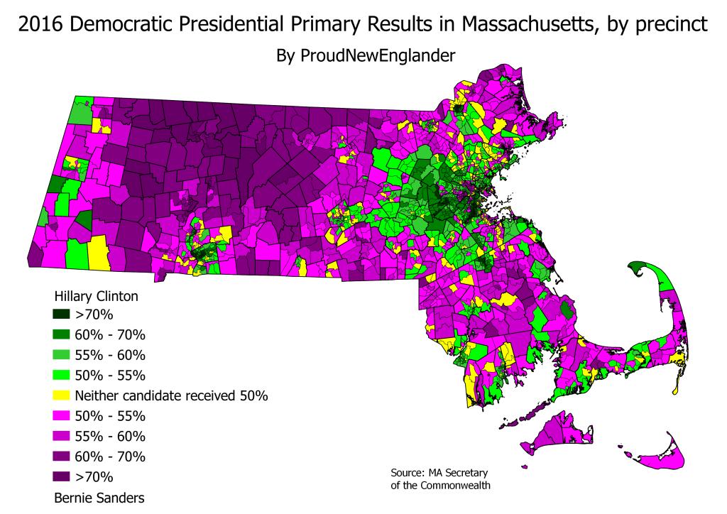 MA 16PrezPrimDem precinct results with PNE