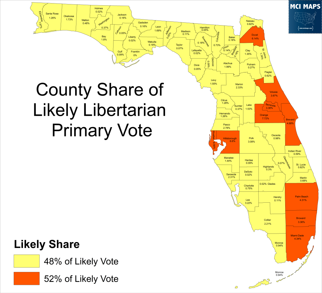 2016 Libertarian Likely Share Maj Counties
