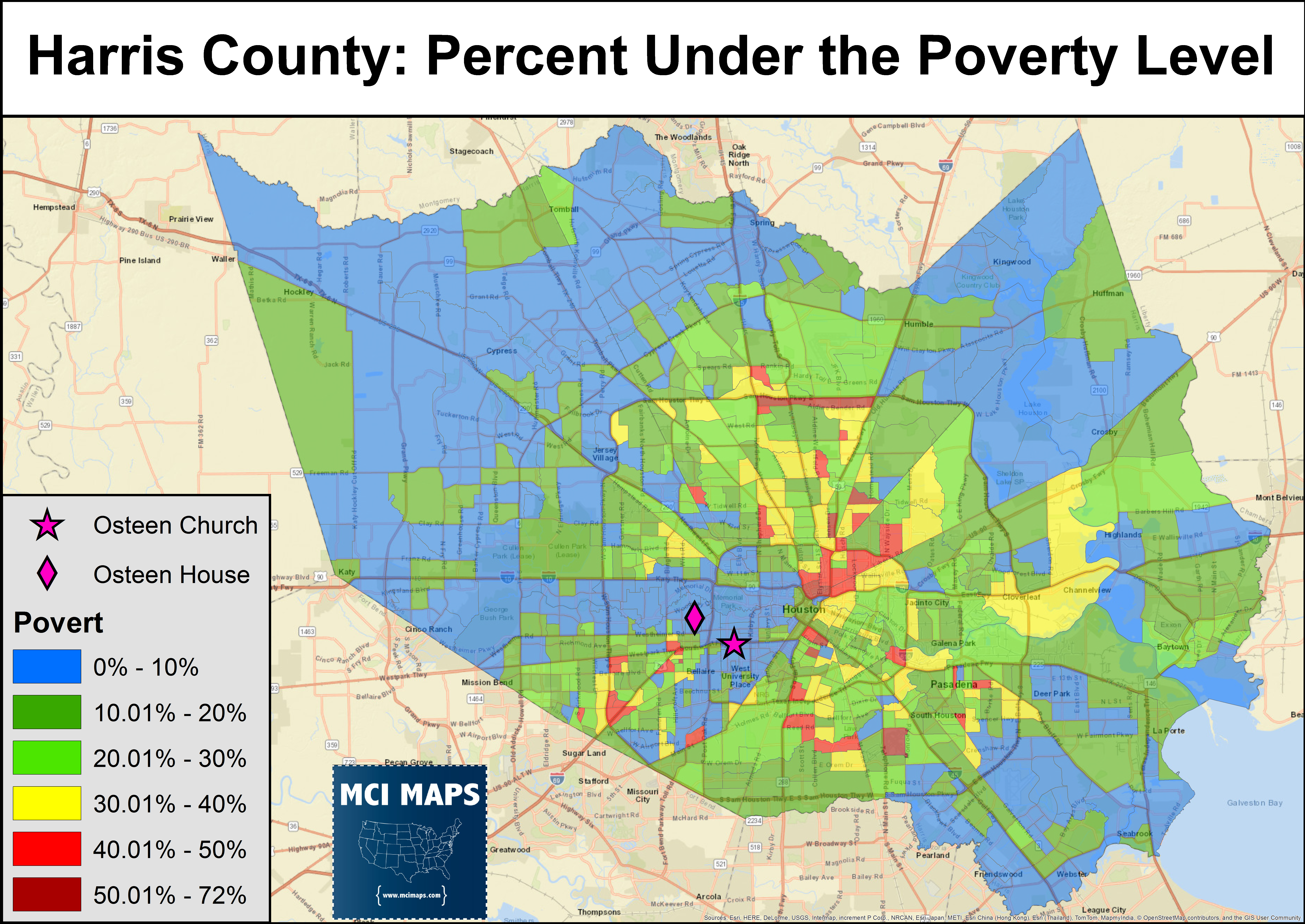 despite being modestly close to downtown houston osteens house and church are located away from the lower income higher poverty areas of the county