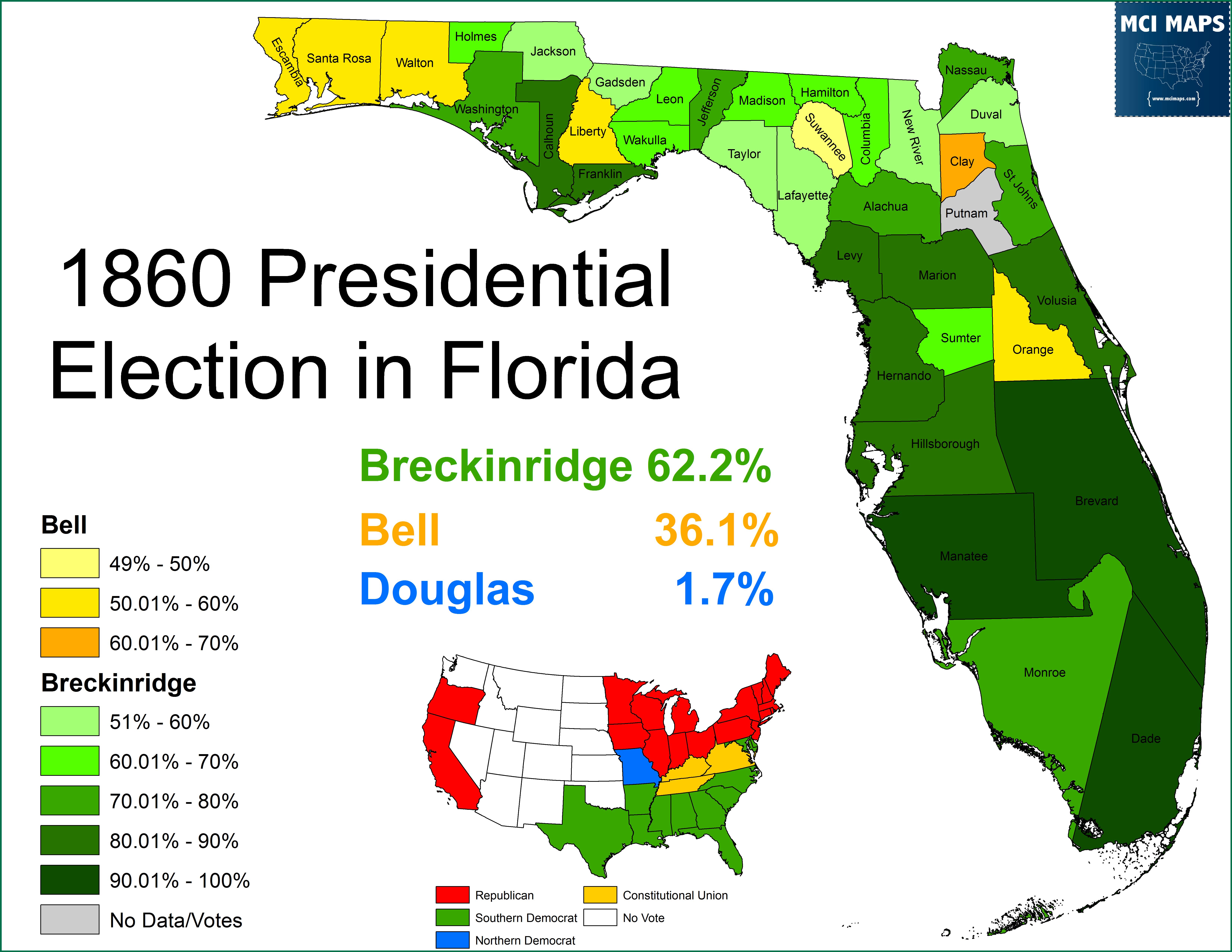 Civil War History Florida S Road Toward Secession Mci Maps